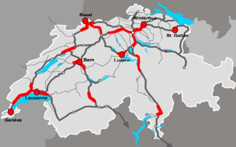 Capacity bottlenecks Rail 2020 (red: congested routes / junctions) [UVEK 09]