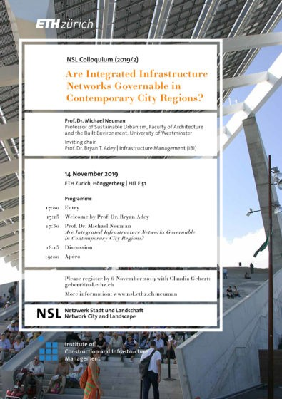 NSL Colloquium: Are Integrated Infrastructure Networks Governable in Contemporary City Regions? Flyer Page 1