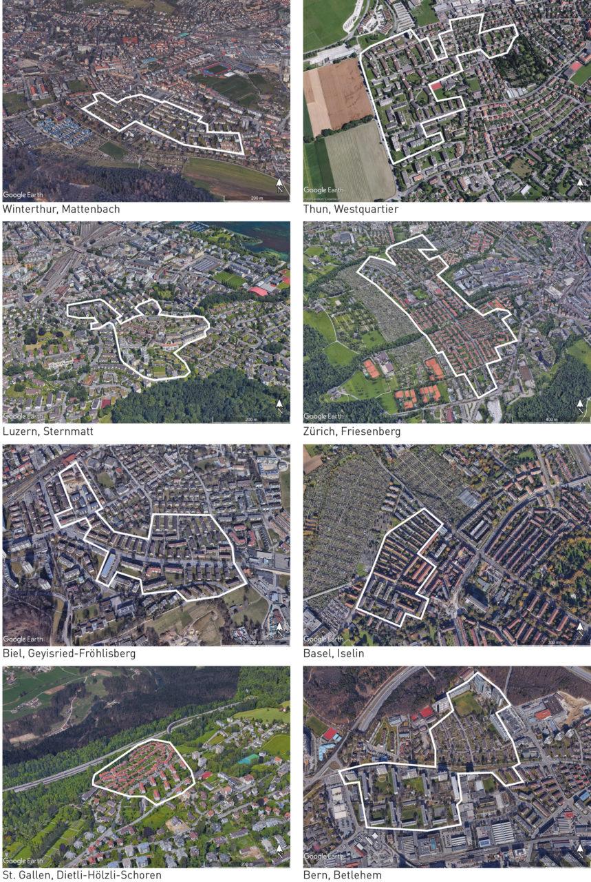 Ausgewählte zusammenhängende Gebiete mit ausschliesslich oder mehrheitlich gemeinnützigem Wohnungsbau (weiss umrandet) in verschiedenen Schweizer Städten. Quelle: Roman Streit, Basiskarten: Google Maps (2018).