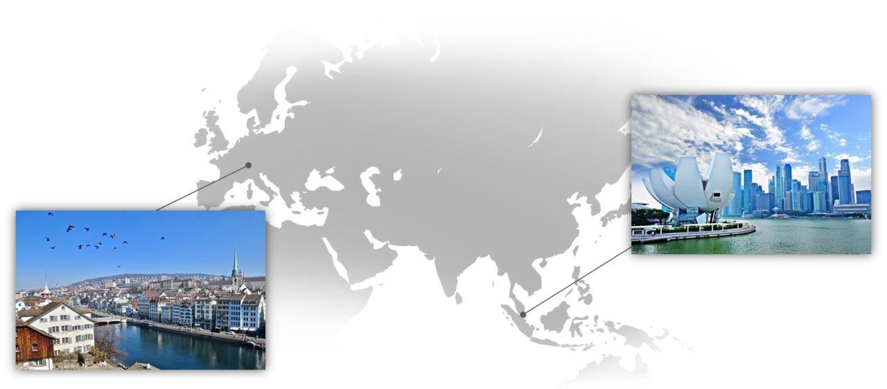 Singapur und Zürich. Bilder via pixabay.com