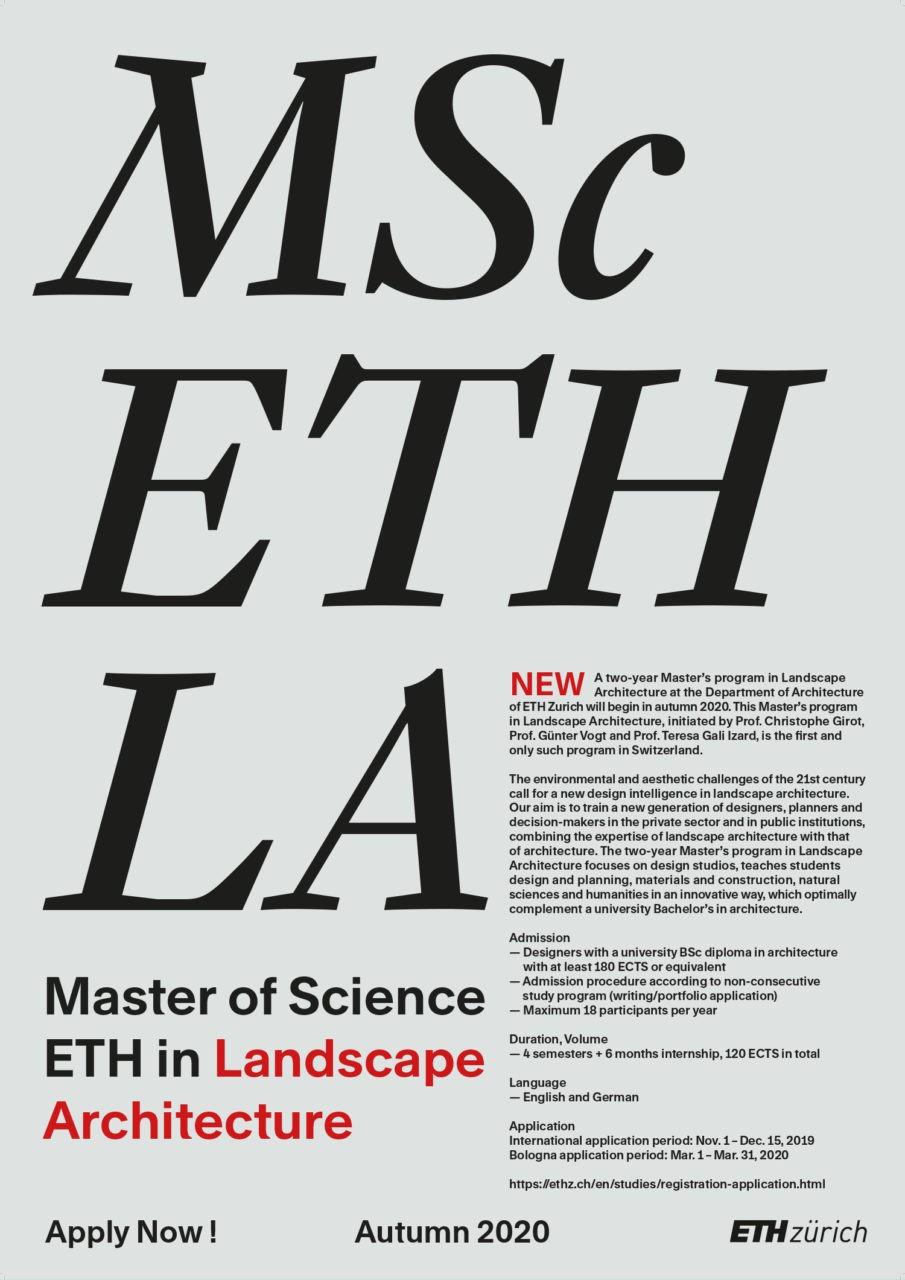 Poster Master ETH in Landscape Architecture