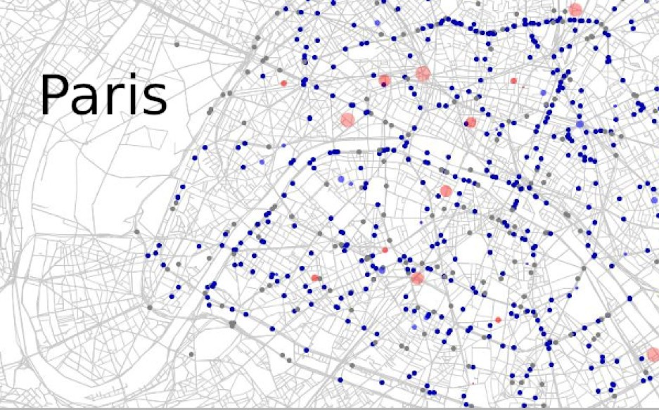 Visualisation of eqasim generated MATsim agents in action in the centre of Paris/Zurich.