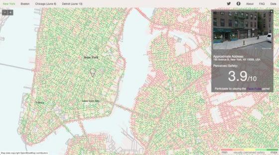 Welcher Ort sieht sicherer aus? Kartographische Darstellung eines Ausschnitts von New York. Quelle: http://streetscore.media.mit.edu