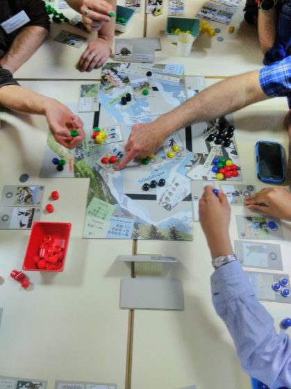 Snapshot during a game session. Interactions are many as players negotiate their individual and collective for their territory from 2020 to 2040. The final situation in 2040 is compared to their desired vision for 2040. (Picture: Nicolas Salliou, ETH Zurich)