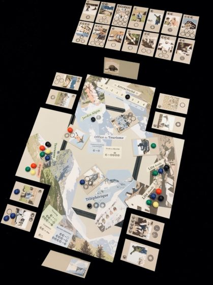 The board game «Game of Cruxes» about adaptation pathways in the Alps (Game design and photo by Ralph Sonderegger, ETH Zurich)