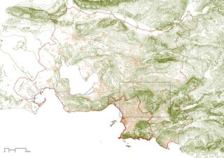 City of Marseille (thick red line), Métropole Aix-Marseille-Provence (thin red line) and investigation perimeter (black dotted line) © Amalia Bonsack, chair Günther Vogt, ETH Zurich