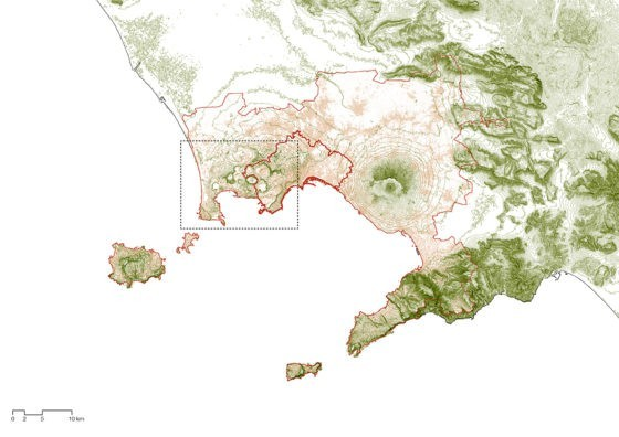 City of Naples (thick red line), Citta Metropolitana di Napoli (thin red line) and investigation perimeter (black dotted line) © Amalia Bonsack, chair Günther Vogt, ETH Zurich