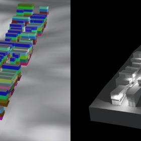 The 3D model of the case-study street (future four-storey scenario) including color-coded construction years and its outdoor lighting in 2019. Source: 3D model: Walczak, 2019; lighting reconstruction: Kretzer, 2019-2020