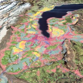 Territories of potentials for Geneva region in 2050: bi-national metropolis (pink); global-local territories (dark magenta); post-fossil infrastructures (purple); metropolitan countryside (yellow); agri-landscape rooms (green); vital streams and canopies (blue); mountain parks (brown). © Team Grand Genève et son sol: ETH Zürich Architecture of Territory Prof. Milica Topalović, Uni.Lu FHSE Prof. Florian Hertweck, and Raumbureau Rolf Jenni. Cartography: Karoline Kostka and Nikos Katsikis. Illustration Karoline Kostka and Muriz Djurdjevic.