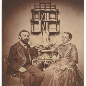 Johanna und Agostino Garbald in Castasegna / Kalotypie 1861 @ Staatsarchiv Chur, Fondazione Garbald