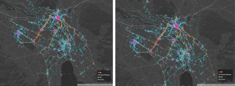 Visualization of urban use of space by crowdsourcing. Source: Smartuse.ch
