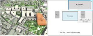 Location of building E1 within the hospital (left), and location of the PET centre in the ground floor plan of the building E1 (right). The blue box around the PET centre, labelled with the letter «A», marks the area of interest for the analysis. Left image courtesy of the University Hospital of Zurich.