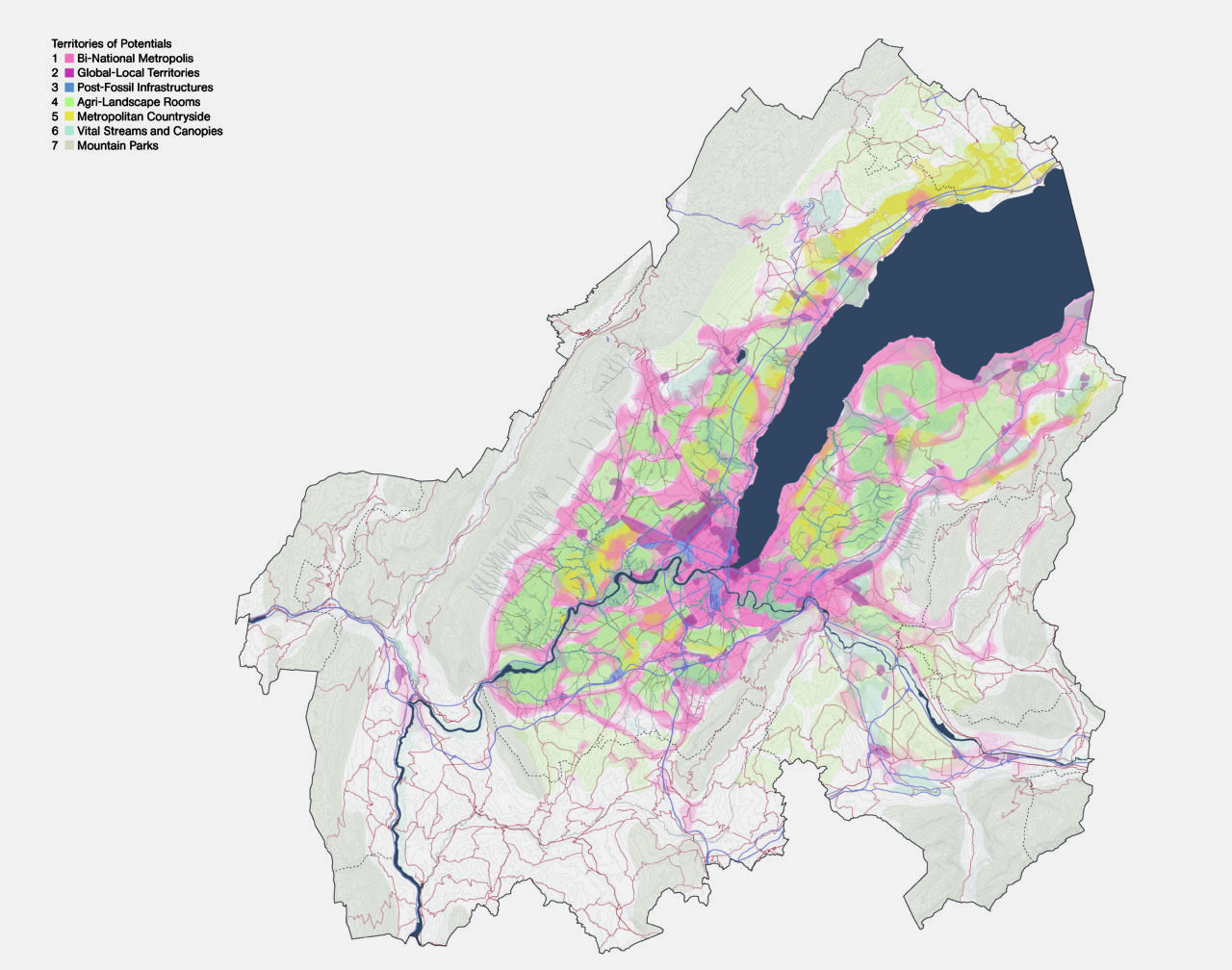 Territories of urban potentials for the Geneva region in 2050. The plan outlines the future land use strategy for a polycentric, equitable and ecological region. The project methodology serves as a precedent for the FCL Global research. Source: Team Grand Genève et son sol, M. Topalović, F. Hertweck, K. Kostka, N. Katsikis, 2020.