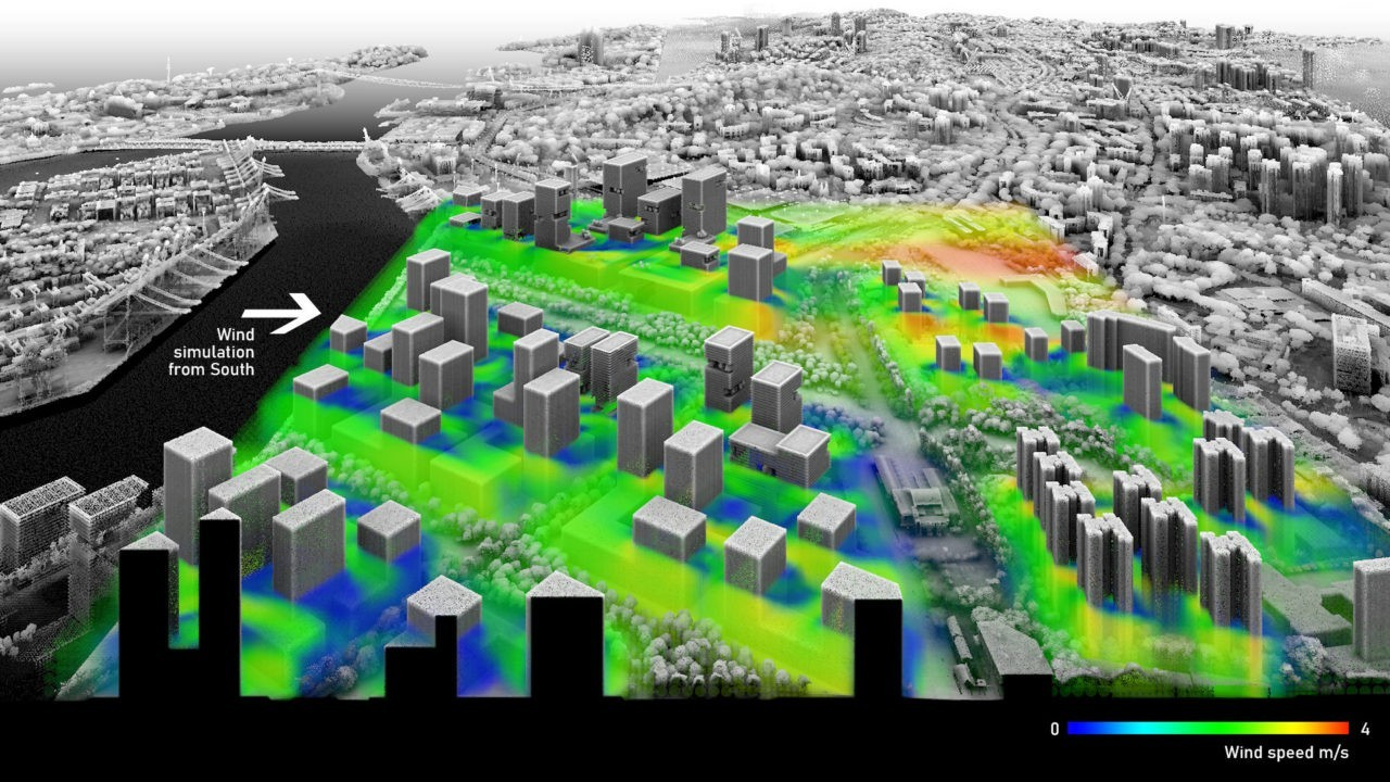 The existing cargo port in Tanjong Pagar will make way for a new expansion of the central business district of Singapore. The Rail Corridor with its terminus station could be integrated into the strategic use of the open spaces to dissipate the urban heat island effect. At street level, the airflow improves thermal comfort. Designs by ETH and SUTD students applying the design method by Philipp Urech, simulations in OpenFOAM by M.O. Mughal.