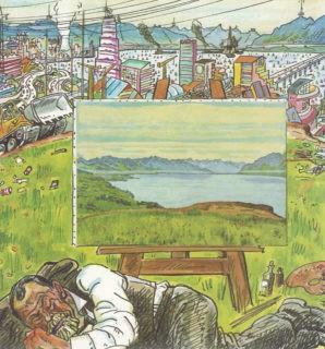 «Landschaft am Genfersee, frei nach Ferdinand Hodler». Karikatur Hans U. Steger für den Nebelspalter, 27.4.1982 © AfZ