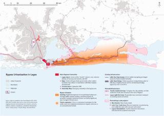 Bypass urbanization in Lagos in relation to the metropolitan scale (map design by Dorothée Billard, based on Sawyer, 2016).