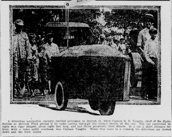 An early driverless car or 'phantom auto'. Published in The Daily Ardmoreite. August 12, 1921. Source: chroniclingamerica.loc.gov